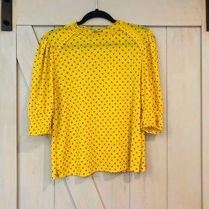 Zara- Yellow blouse with blue polka dots